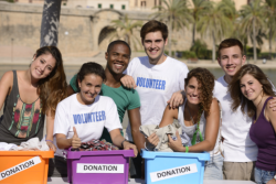 group of charity volunteers